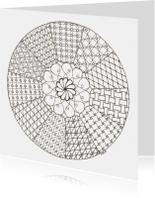 Zentangle mandala kleurkaart met 11 delen
