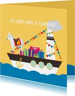 Zie ginds komt de pakjesboot van Sinterklaas
