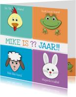 Verjaardagskaarten - Zoe-t dierenkaart met leeftijd