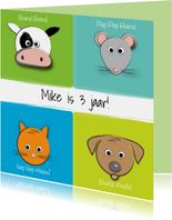Zoe-t dierenkaart met naam en leeftijd