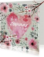 Zomaar ansichtkaart met watercolor bloemen