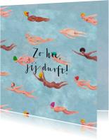 Zomaar-kaart! Blote vliegende of zwemmende mensen.