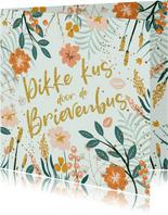 Zomaar kaart met bloemen en glitterlook