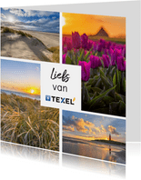 Zomaar kaart met collage van 4 foto's van Texel