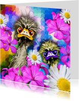 Zomaar kaarten - Zomaar kaart met struisvogels en met bloemen
