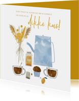 Zomaar kaart theetje, boeket en kus door de brievenbus