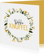 Zomaar kaart vrolijk dikke knuffel gele bloemenkrans