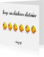 Zomaar kaarten houd 6 kippen afstand