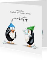 Zomaar kaarten pinguïn gooit sneeuwbal