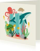 Zomaar kaartje met lieve dieren uit de zee die hi zeggen