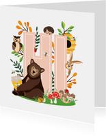 Zomaar kaartje met lieve dieren uit het bos die hi zeggen