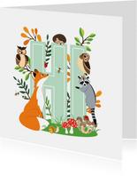 Zomaar kaartje met stoere dieren uit het bos die hi zeggen