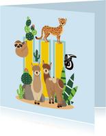Zomaar kaartje met vrolijke dieren uit de woestijn