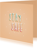 Zomaar kaartje stay safe hip typografisch