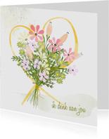 Zomaarkaart boeket bloemen geel hart