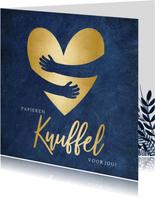 Zomaarkaart corona papieren knuffel met gouden hart