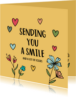 zomaarkaart - Sending you a smile - hearts and flowers