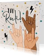 Zomaarkaart 'You Rock' met handgebaren, sterren en bliksem