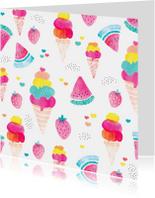 Uitnodigingen - Zomer watermeloen ijsjes