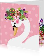 Zwaan met bloementooi verjaardagskaart