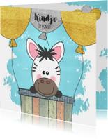 Felicitatiekaarten - Zwanger felicitatie kaart met een luchtballon en zebra