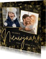 Zwarte nieuwjaarskaart met 2 eigen foto's en goudlook tekst