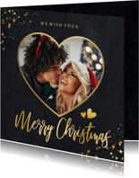 Zwarte vierkante kerstkaart met gouden hart met foto