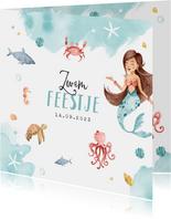 Zwemfeest uitnodiging kinderfeestje zeemeermin zeedieren