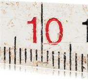 10 op oude witte duimstok