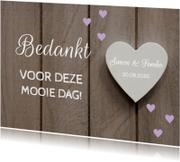Bedankjes bruiloft hartjes paars - LB