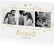 Bedankkaart bruiloft grafisch stijlvol goud hartjes foto