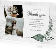 Bedankkaart bruiloft marmer stijlvol klassiek eucalyptus