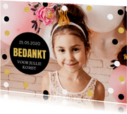Bedankkaart communie confetti goud foto