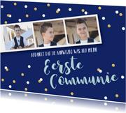Bedankkaart communie jongen fotostrip confetti