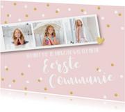 Communiekaarten - Bedankkaart communie pastel fotostrip confetti