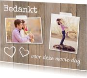 Bedankkaart foto hartjes houtprint - LB