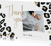 Bedankkaart panterprint goudlook met foto