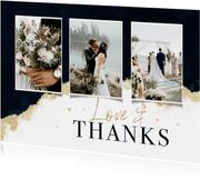 Bedankkaart stijlvol verf goud hartjes inkt bruiloft trouwen