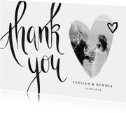 Bedankkaart thank you stijlvol kalligrafie zwart wit foto
