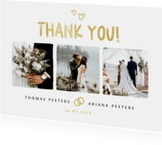 Bedankkaartje bruiloft fotocollage goud hartjes foto's