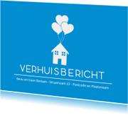 Verhuiskaarten - Blauwe verhuisbericht
