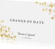 Change-of-date-Karte zur Hochzeit Goldene Herzen