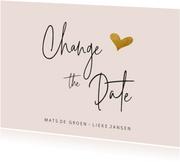 Change the date kaart met goudlook hartje