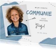Communie feest uitnodiging blauw verf pijltje foto