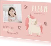 Communie uitnodiging met foto, vlinders en unicorn