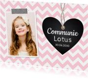 Communiekaart foto hartje roze meisje