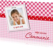 Communiekaart roze-rood met foto