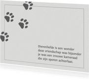 Condoleance kaart voor een hond of poes
