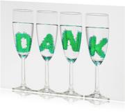 DANK in champagne glazen