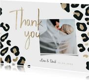 Dankeskarte zur Hochzeit mit Foto und Leopardenmuster
